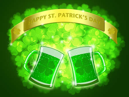 st  patricks: St Patricks Day Two Green Beers Banner with Shamrocks Bokeh Illustration Stock Photo