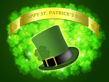 lucky clover: St Patricks Day Leprechaun Hat Banner with Shamrocks Bokeh Illustration Stock Photo
