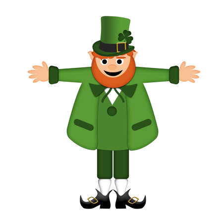 Happy St Patricks Day Irish Leprechaun Arm Stretched Illustration Stock Photo