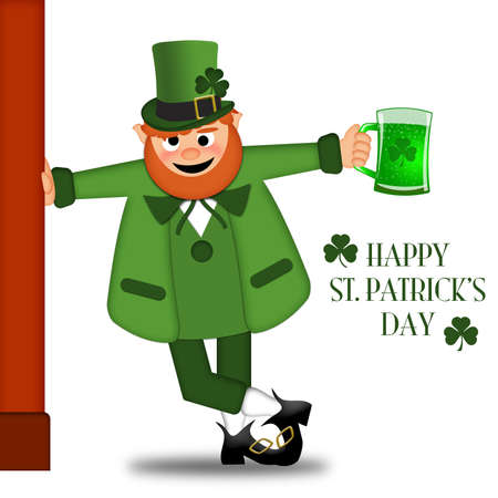 beer card: Happy St Patricks Day Drunk Leprechaun Drinking Green Beer Illustration