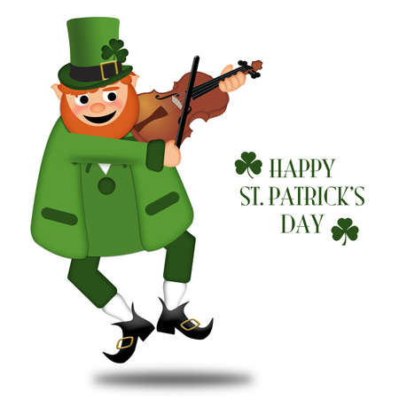 Happy St Patricks Day Drunk Leprechaun Fiddler Illustration illustration