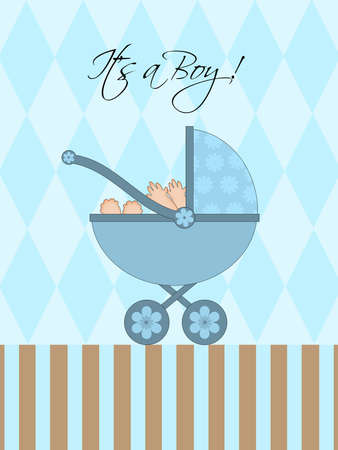 Its A Boy Blue Baby Pram Carriage with Background Illustration Stock Illustration - 8860949