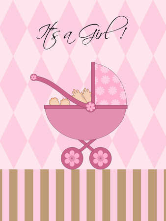 Its A Girl Pink Baby Pram Carriage with Background Illustration illustration