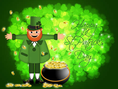 Happy St Patricks Day Irish Leprechaun with Pot of Gold Illustration illustration