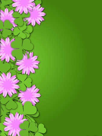 Shamrock Paper Cutting Clover Flowers Border Illustration illustration