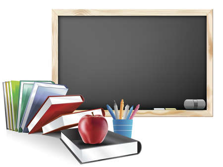 Classroom with Chalkboard Books Pens and Red Apple Illustration Banque d'images
