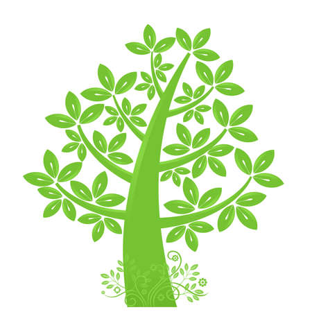 life style: Abstract Eco Tree Silhouette with Leaves and Vines Illustration Stock Photo
