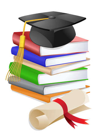 Graduation Cap on Stack of Reference Text Books with Diploma Illustration illustration