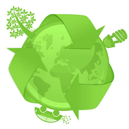 recycling: Eco Globe with Green Tree Energy Saving Bulb Hybrid Electric Car Illustration Stock Photo