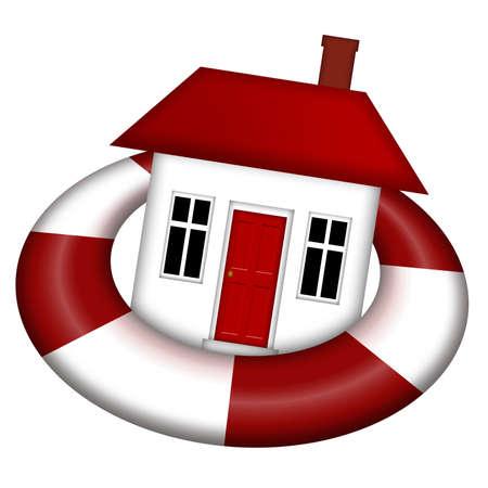 staying: House Staying Afloat on Lifesaver Illustration