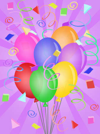 Balloons with Confetti Rays Background for Birthday Party Illustration