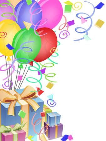紙吹雪と風船の誕生日パーティーの図の背景を提示します。