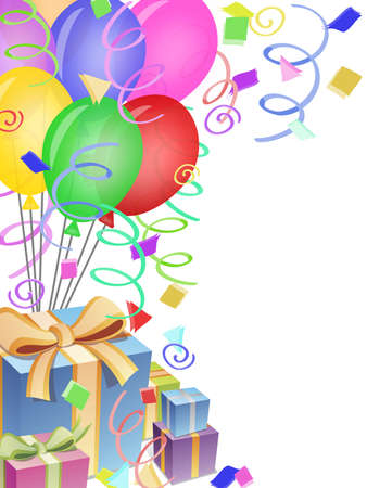 birthday party: Balloons with Confetti Presents Background for Birthday Party Illustration
