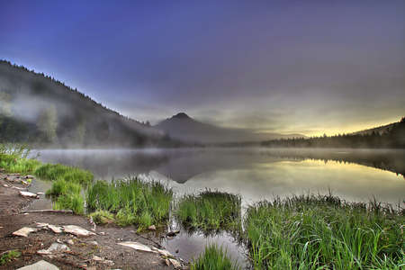 Foggy Sunrise at Trillium Lake with Mount Hood Oregon Stock Photo - 8937946