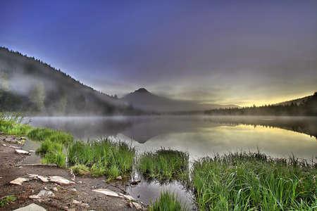 trillium lake: Foggy Sunrise at Trillium Lake with Mount Hood Oregon