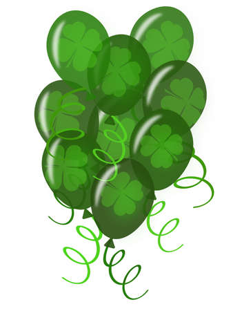 Balloons with Confetti White Background for St Patricks Day Party Illustration