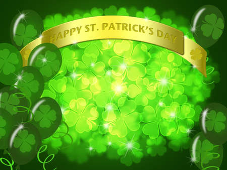 St Patricks Day Two Green Beers Banner with Shamrocks Bokeh Illustration illustration