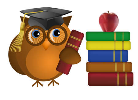 Wise Old Owl with Colorful Text Books Illustration Stock Photo