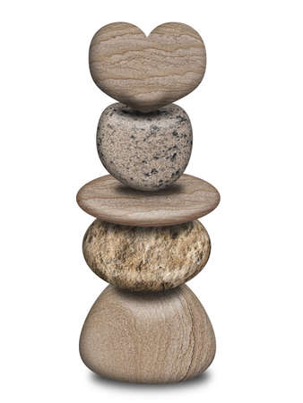 balanced: Stack of Isolated Balanced Rock Pebbles with Heart Illustration