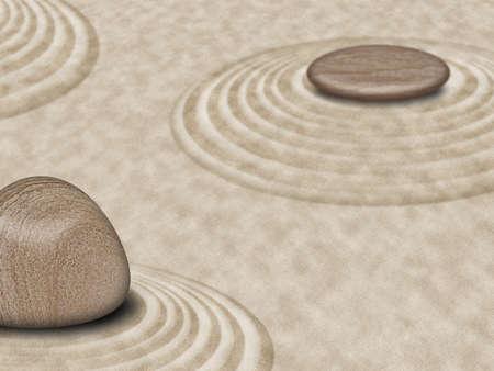 japanese garden: Zen Stones on Sand Garden Circles 2 Illustration
