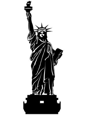 Statue of Liberty Black and White Isolated Illustration
