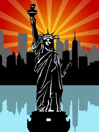 big apple: Statue of Liberty Black and White Isolated Illustration
