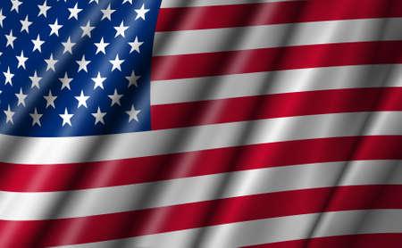 USA Stars and Stripes Flying American Flag Illustration