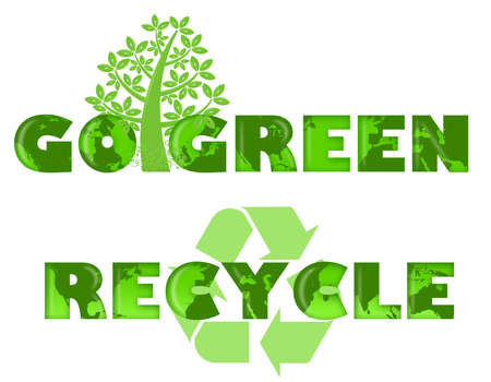 green environment: Go Green and Recycle Logo with World Map Illustration