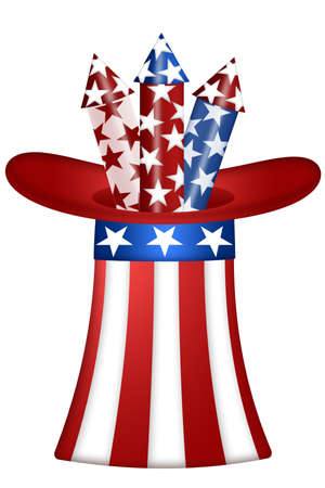 Uncle Sam Hat with Red White Blue Fireworks Illustration