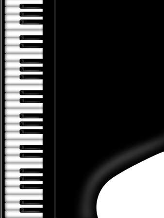 Grand Piano Keyboard Black and White Background Illustration