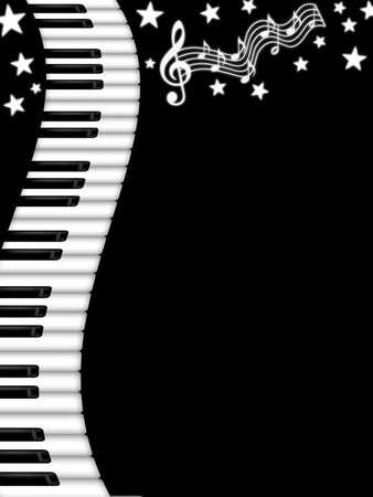 물결 모양의 피아노 키보드 흑백 배경 일러스트 레이션