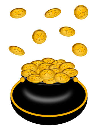 saint patricks: Saint Patricks Day Pot of Gold with Shamrock Coins Illustration