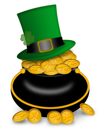 saint patricks: Saint Patricks Day Leprechaun Hat on Pot of Gold Coins Illustration Stock Photo