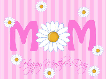 mom daughter: Happy Mothers Day with Daisy Flowers Pink Background Illustration Stock Photo
