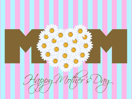 Happy Mothers Day with Daisy Flowers Heart Pink Background Illustration