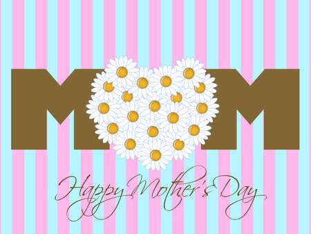 Feliz d�a de las madres con ilustraci�n de fondo de color rosado de coraz�n de Margarita flores Foto de archivo - 8937990