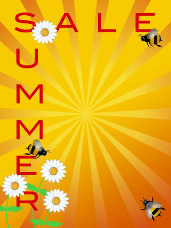 Summer Season Sale Sign with Daisies Flowers and Bumble Bees Illustration illustration