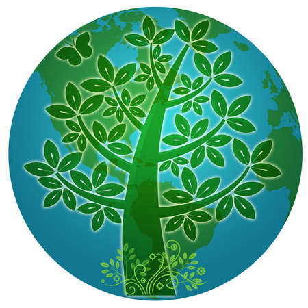 Blue Planet with Abstract Eco Tree Silhouette Illustration illustration