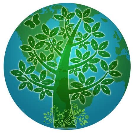 Planète bleue avec une Illustration de Silhouette Eco arbre abstrait Banque d'images - 8994908