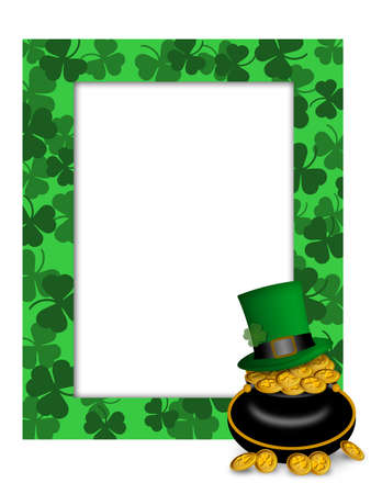 St Patricks Day Leprechaun Green Hat on Pot of Gold Picture Frame Illustration illustration