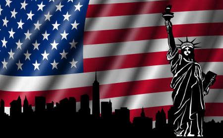 米国リバティ ニューヨーク スカイライン シルエット イラストの像とアメリカの国旗