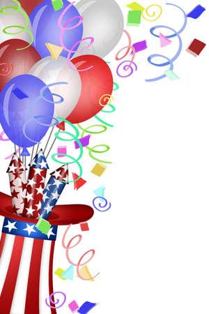 juli: Uncle Sam hoed met rood wit blauw vuurwerk en ballonnen illustratie