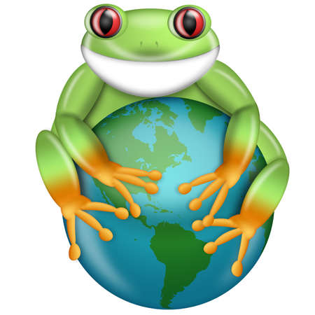 Red-Eyed Green Tree Frog Hugging Planet Earth Globe Illustration