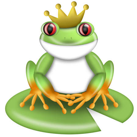 lilypad: Red-Eyed Green Tree Frog Prince with Crown on Lilypad Illustration