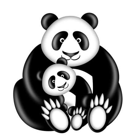 어머니와 아기 팬더 곰 포옹 일러스트 흰색 배경에 고립 된