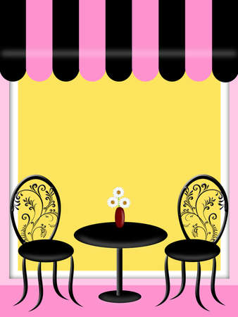 Bistro Restaurant with Awning Table Chairs Outside Seating Illustration illustration