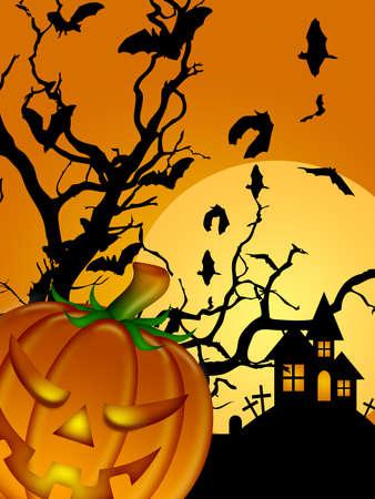 Halloween Carved Pumpkin Bats Moon Cemetery Tombstone Tree Illustration illustration
