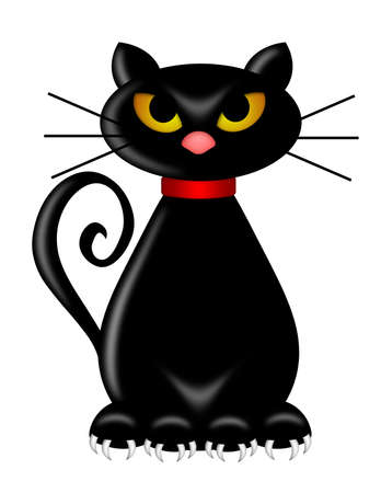 Halloween schwarze Katze sitzend auf weißem Hintergrund Illustration isoliert Standard-Bild - 9063799