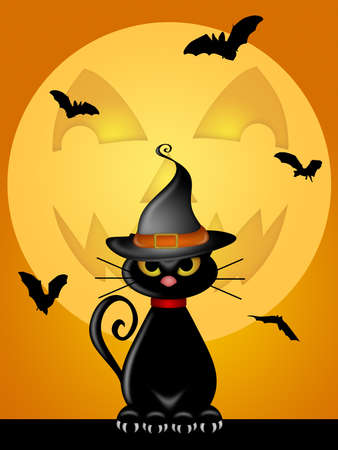 Halloween Cat wit Wtiches Hat by Jack O Lantern Moon Illustration