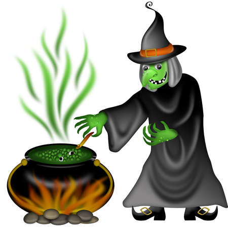 Halloween Witch with Green Face Posing Illustration illustration